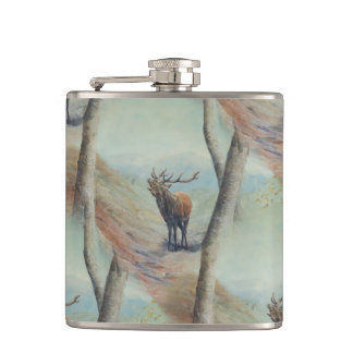 Red deer stag bellowing in a highland glen. flask