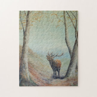 Red deer stag bellowing in a highland glen. jigsaw puzzle