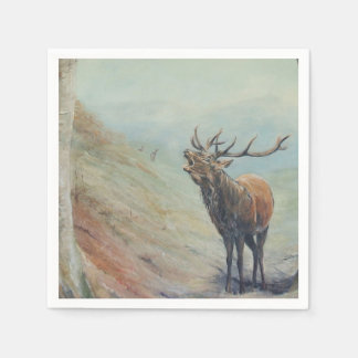 Red deer stag bellowing in a highland glen. paper napkin