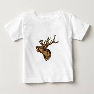 Red Deer Stag Head Roaring Drawing Baby T-Shirt