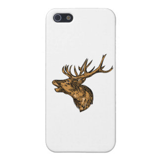 Red Deer Stag Head Roaring Drawing Case For The iPhone 5
