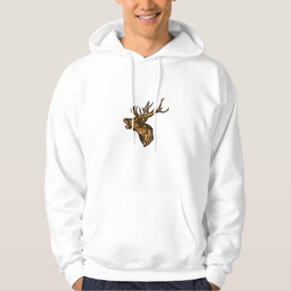 Red Deer Stag Head Roaring Drawing Hoodie