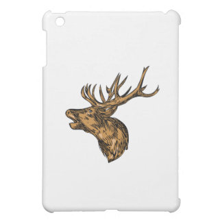 Red Deer Stag Head Roaring Drawing iPad Mini Case