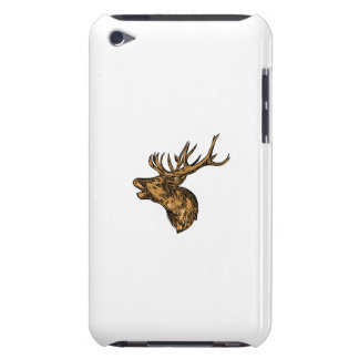 Red Deer Stag Head Roaring Drawing iPod Touch Cases