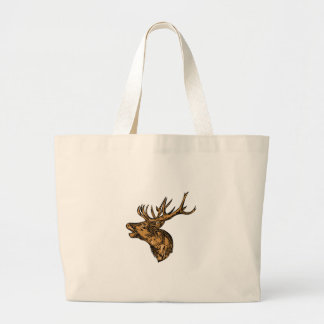 Red Deer Stag Head Roaring Drawing Large Tote Bag