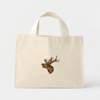Red Deer Stag Head Roaring Drawing Mini Tote Bag