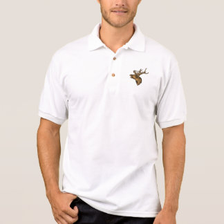 Red Deer Stag Head Roaring Drawing Polo Shirt