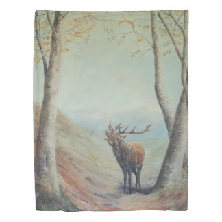 Red deer stag. hind and fawn on reverse. duvet cover
