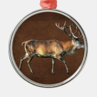 Red Deer Stag Wildlife Animal Design Silver-Colored Round Ornament