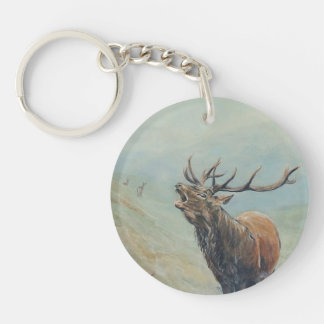 Red deer stag with hind and fawn on back. Double-Sided round acrylic keychain