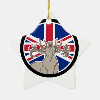 Red Deer Union Jack Flag Icon Ceramic Ornament