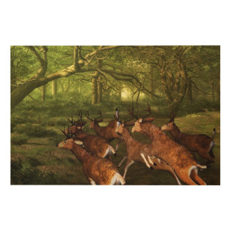 Red-deer Wood Wall Art