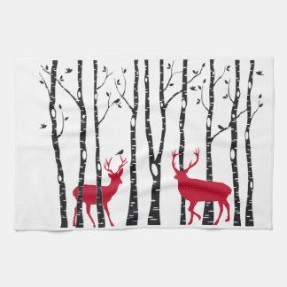 Red deers in birch tree forest kitchen towel