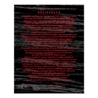 Red Desiderata on Space Dust Black Marble Poster