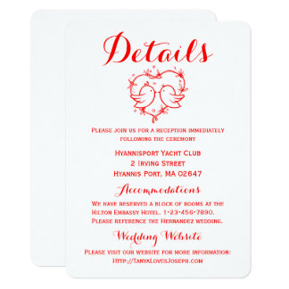 Red Details Directions  Lovebirds Hearts Wedding Card