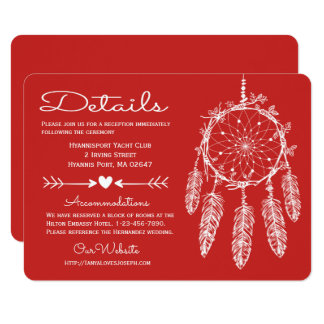Red Details Dreamcatcher Native American Wedding Card