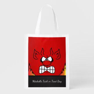 Red Devil Face Reusable Grocery Bag