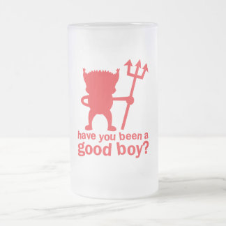 RED DEVIL have you been a good boy? 16 Oz Frosted Glass Beer Mug