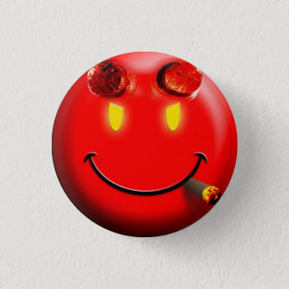 Red Devil Smiley Face - button