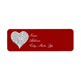 Red Diamond Heart Address Labels