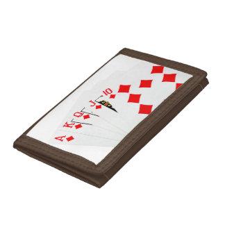 Red Diamond Royal Flush Tri-fold Wallet