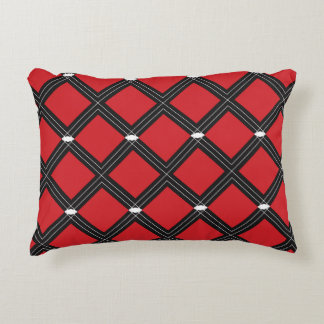 Red Diamond Shapes Pattern Decorative Pillow