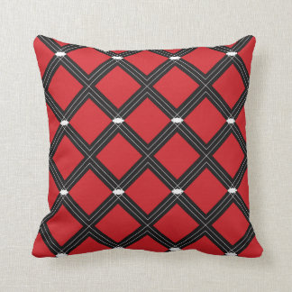 Red Diamond Shapes Pattern Throw Pillow