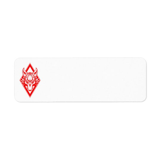 Red Diamond Wolf Face Graphic Return Address Label