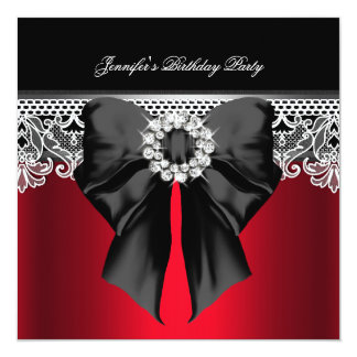 "Red Diamonds Lace Image Birthday Party Black 5.25"" Square Invitation Card"