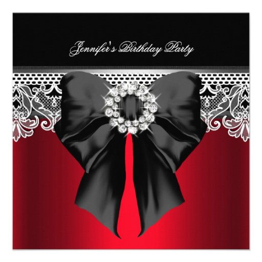 Red Diamonds Lace Image Birthday Party Black Custom Announcement