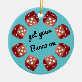 Red Dice Circle - Add Your Own Message Round Ceramic Ornament