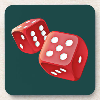 red dice coaster cork