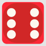 Red Dice Die Roll Six Square Seal Stickers