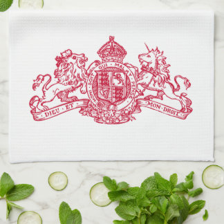 Red Dieu et Mon Droit British Coat of Arms Kitchen Towel