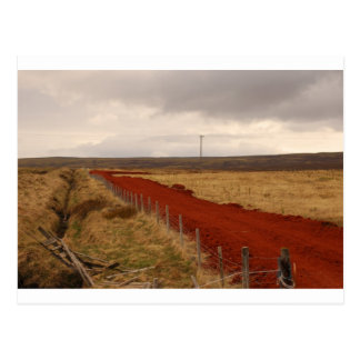 Red Dirt Road In Iceland Postcard