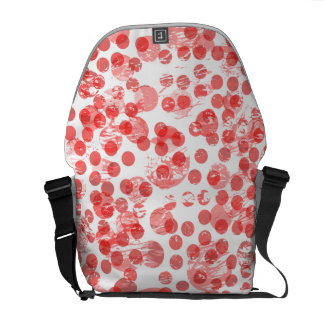 Red distressed spots pattern commuter bags