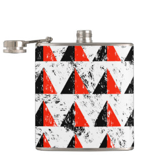 Red Distressed Triangle Pattern Hip Flask