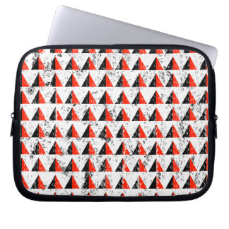 Red Distressed Triangle Pattern Laptop Sleeve