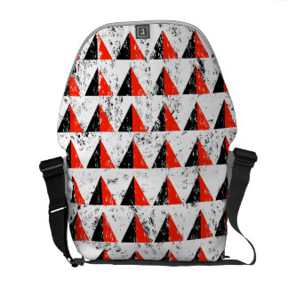 Red Distressed Triangle Pattern Messenger Bags
