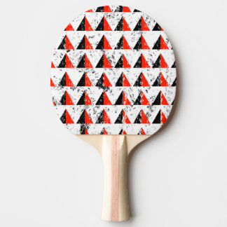 Red Distressed Triangle Pattern Ping Pong Paddle