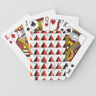 Red Distressed Triangle Pattern Playing Cards