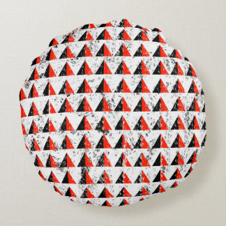 Red Distressed Triangle Pattern Round Pillow