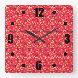 Red Ditsy Flowers Pattern Clock