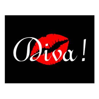 Red Diva Kiss Postcard