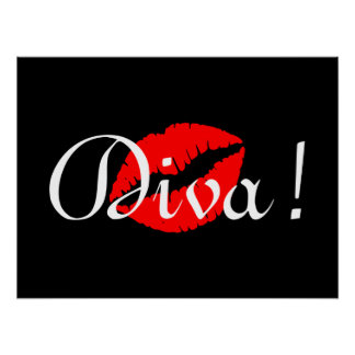 Red Diva Kiss Poster