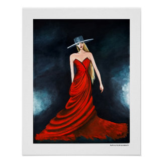 Red Diva Poster Fashion Illustration 20 x 16 Print