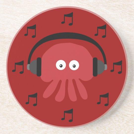 Red DJ Jellyfish, Headphones & Musical Notes Coaster