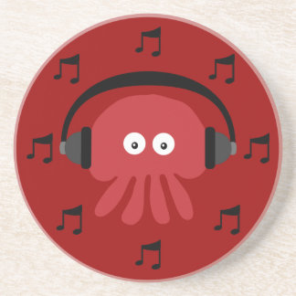 Red DJ Jellyfish, Headphones & Musical Notes Drink Coasters
