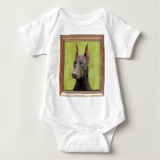 Red Doberman Pinscher Painting Baby Bodysuit