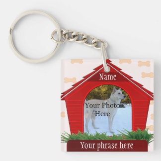 Red Dog House Dog Custom Memorial Keychain